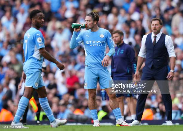 Jack Grealish of Manchester City drinks from a Gatorade bottle during the Premier League match between Manchester City and Southampton at Etihad...