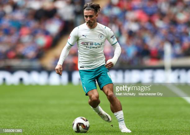 Jack Grealish of Manchester City during the FA Community Shield match between Manchester City and Leicester City at Wembley Stadium on August 07,...