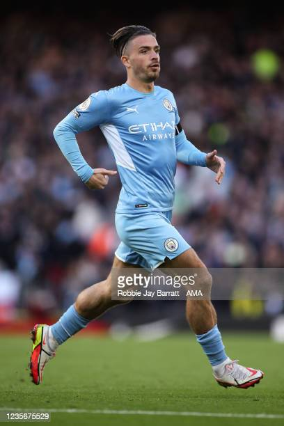 Jack Grealish of Manchester City during the Premier League match between Liverpool and Manchester City at Anfield on October 3, 2021 in Liverpool,...