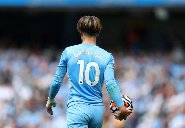 Jack Grealish of Manchester City during the Premier League match between Manchester City and Arsenal at Etihad Stadium on August 28, 2021 in...