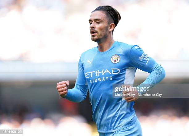 Jack Grealish of Manchester City during the Premier League match between Manchester City and Southampton at Etihad Stadium on September 18, 2021 in...