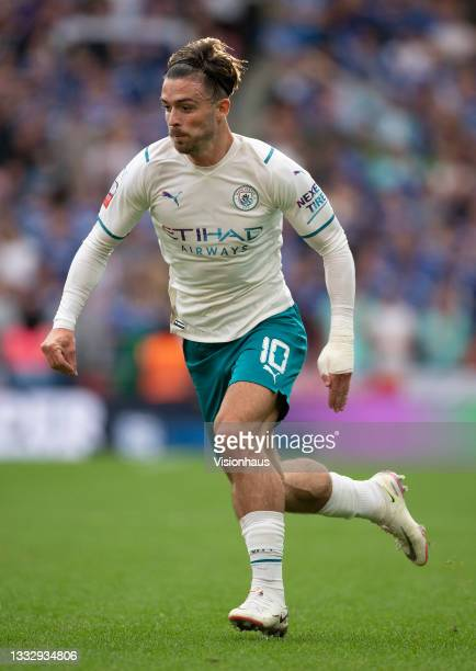 Jack Grealish of Manchester City during the The FA Community Shield between Manchester City and Leicester City at Wembley Stadium on August 07, 2021...
