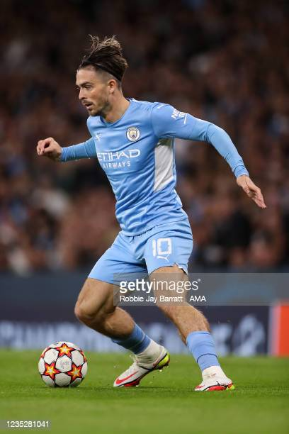 Jack Grealish of Manchester City during the UEFA Champions League group A match between Manchester City and RB Leipzig at Etihad Stadium on September...