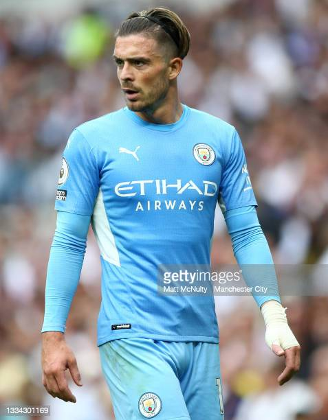 Jack Grealish of Manchester City looks on during the Premier League match between Tottenham Hotspur and Manchester City at Tottenham Hotspur Stadium...