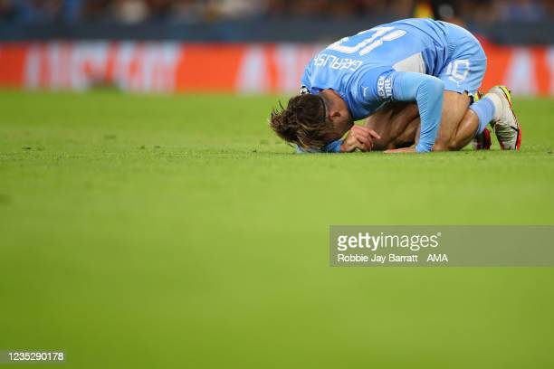 Jack Grealish of Manchester City reacts during the UEFA Champions League group A match between Manchester City and RB Leipzig at Etihad Stadium on...