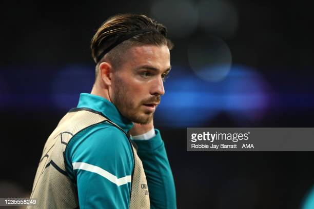 Jack Grealish of Manchester City warms up during the UEFA Champions League group A match between Paris Saint-Germain and Manchester City at Parc des...