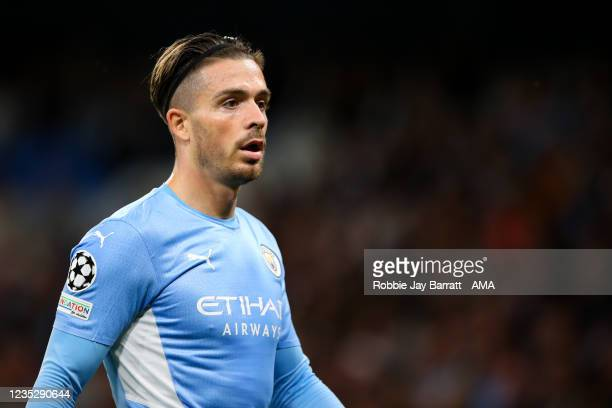 Jack Grealish of Manchester Cityduring the UEFA Champions League group A match between Manchester City and RB Leipzig at Etihad Stadium on September...