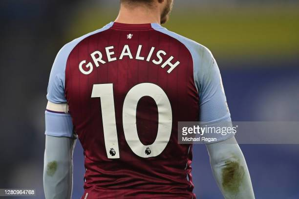 Jack Grealish of Villa in action during the Premier League match between Leicester City and Aston Villa at The King Power Stadium on October 18 2020...