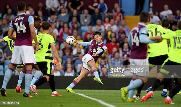Jack Grealish of Villa in action during the Sky Bet Championship match between Aston Villa and Huddersfield Town at Villa Park on August 16 2016 in...