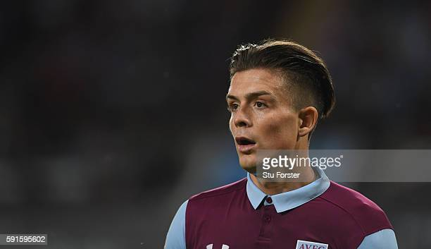 Jack Grealish of Villa looks on during the Sky Bet Championship match between Aston Villa and Huddersfield Town at Villa Park on August 16 2016 in...