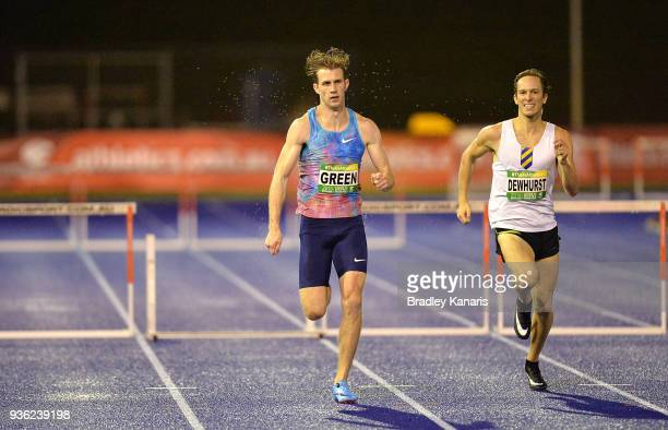 Jack Green of Great Britain and Ian Dewhurst of Australia compete in the Men's 400m Hurdle during the Summer of Athletics Grand Prix at QSAC on March...