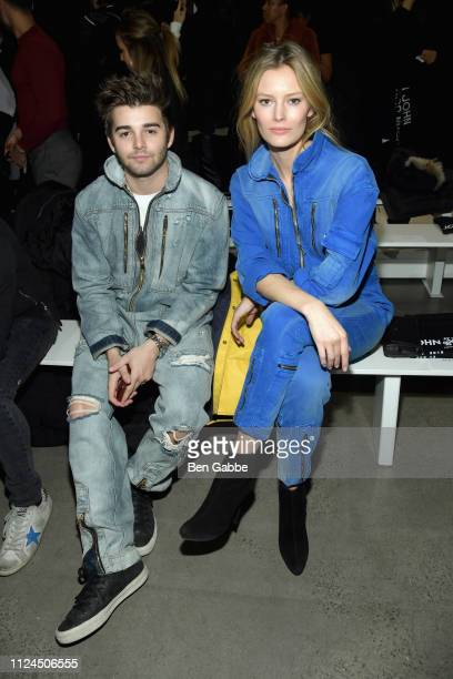 Jack Griffo and Charlott Cordes attend the John John Fashion Show during New York Fashion Week at Gallery I at Spring Studios on February 12 2019 in...