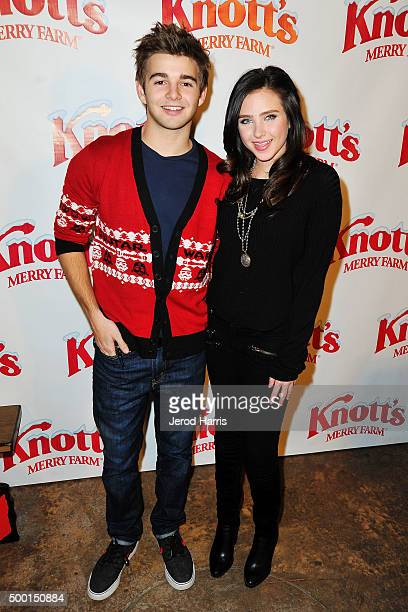 Jack Griffo and Ryan Newman attend Knott's Merry Farm Countdown to Christmas Tree Lighting at Knott's Berry Farm on December 5 2015 in Buena Park...