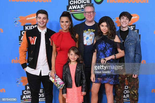Jack Griffo Rosa Blasi Maya Le Clark Chris Tallman Addison Riecke and Diego Velazquez attend Nickelodeon's 2018 Kids' Choice Awards at The Forum on...