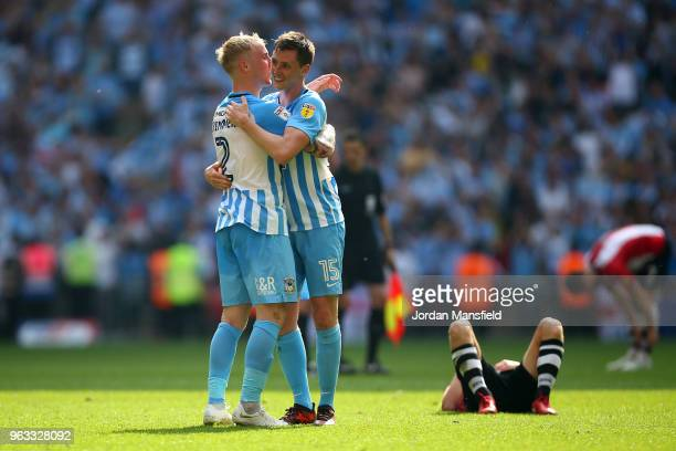 Jack Grimmer of Coventry City and Dominic Hyam of Coventry City celebrate victory at the final whistle during the Sky Bet League Two Play Off Final...