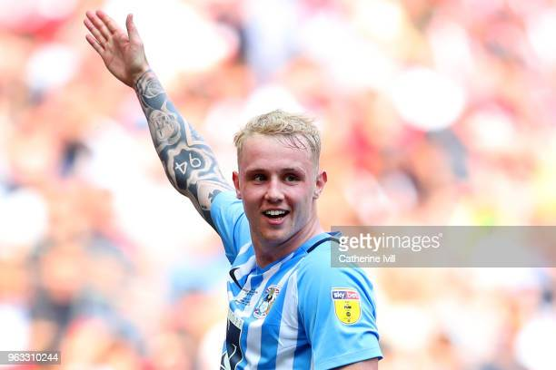 Jack Grimmer of Coventry City celebrates after scoring his sides third goal during the Sky Bet League Two Play Off Final between Coventry City and...
