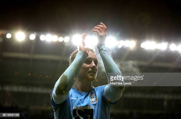 Jack Grimmer of Coventry City celebrates victory after the The Emirates FA Cup Third Round match between Coventry City and Stoke City at Ricoh Arena...