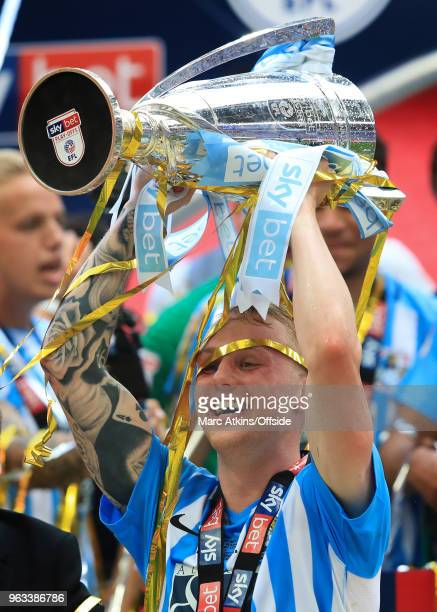 Jack Grimmer of Coventry City celebrates with the trophy during the Sky Bet League Two Play Off Final between Coventry City and Exeter City at...