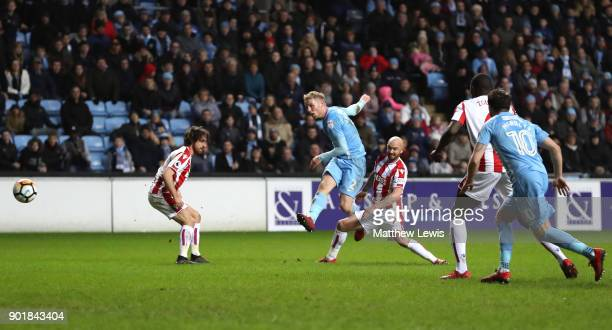 Jack Grimmer of Coventry City scores his sides second goal during The Emirates FA Cup Third Round match between Coventry City and Stoke City at Ricoh...