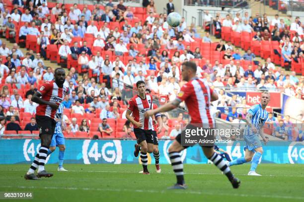 Jack Grimmer of Coventry City scores their 3rd goal during the Sky Bet League Two Play Off Final between Coventry City and Exeter City at Wembley...