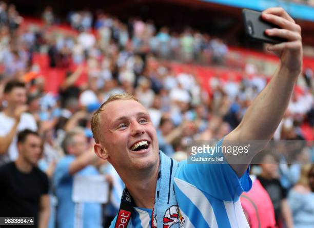 Jack Grimmer of Coventry City takes a selfie photo on his phone after the Sky Bet League Two Play Off Final between Coventry City and Exeter City at...