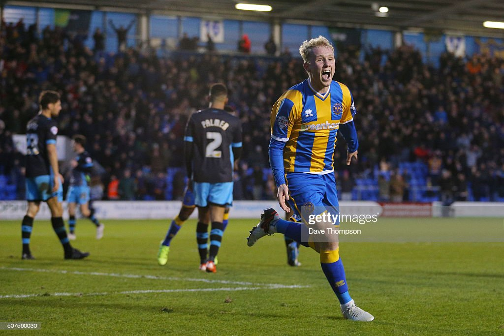 Jack Grimmer of Shrewsbury Town celebrates scoring his team's third and winning goal during the Emirates FA Cup Fourth Round match between Shrewsbury Town and Sheffield Wednesday at Greenhous Meadow on January 30, 2016 in Shrewsbury, England.