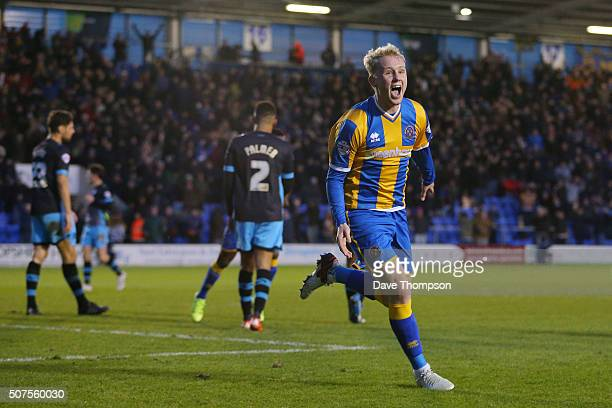 Jack Grimmer of Shrewsbury Town celebrates scoring his team's third and winning goal during the Emirates FA Cup Fourth Round match between Shrewsbury...