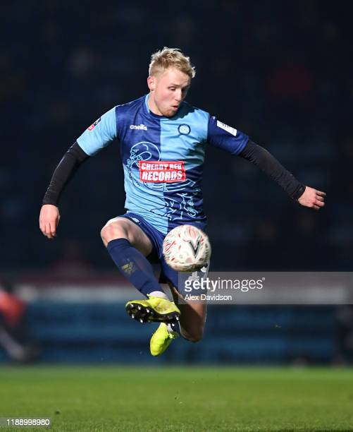 Jack Grimmer of Wycombe Wanderers controls the ball during the FA Cup First Round Replay between Wycombe Wanderers and Tranmere Rovers at Adams Park...