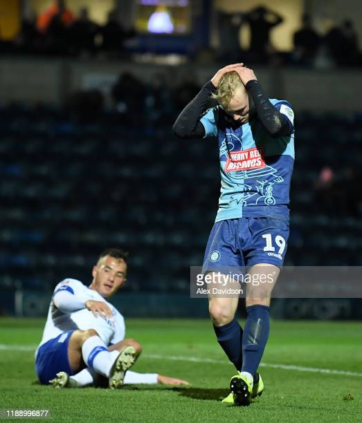 Jack Grimmer of Wycombe Wanderers reacts after a missed chance on goal during the FA Cup First Round Replay between Wycombe Wanderers and Tranmere...
