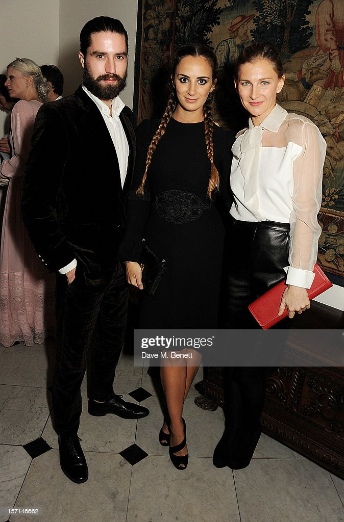 (L to R) Jack Guinness, Alexia Niedzielski and Elizabeth Von Guttman attend a dinner celebrating the launch of 'Valentino: Master Of Couture', the new exhibition showing at Somerset House from November 29, 2012 to March 3, 2013, at the Italian Embassy on November 28, 2012 in London, England.