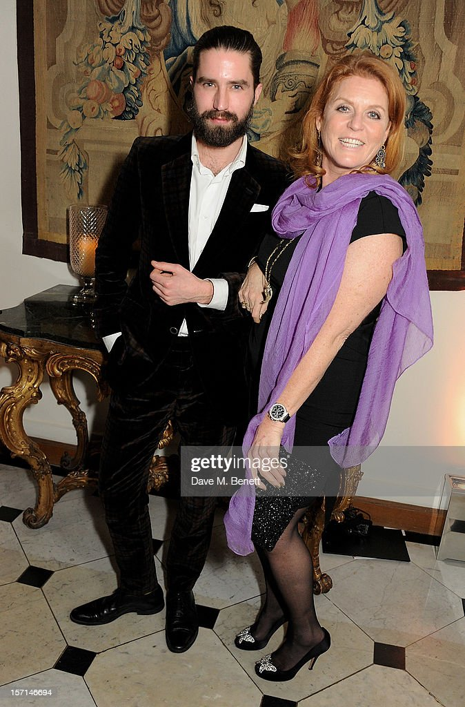 Jack Guinness (L) and Sarah Ferguson, Duchess of York, attend a dinner celebrating the launch of 'Valentino: Master Of Couture', the new exhibition showing at Somerset House from November 29, 2012 to March 3, 2013, at the Italian Embassy on November 28, 2012 in London, England.