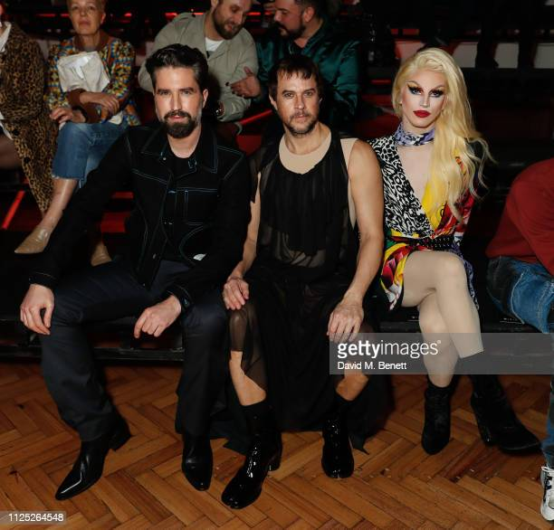 Jack Guinness Marc Goering and Aquaria attend the International Woolmark Prize 18/19 Final show during London Fashion Week February 2019 at Lindley...