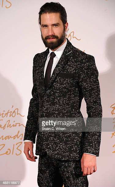 Jack Guinness poses in the winners room at the British Fashion Awards 2013 at London Coliseum on December 2 2013 in London England