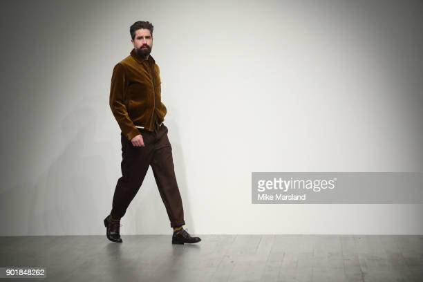 Jack Guinness walks the runway at the Oliver Spencer show during London Fashion Week Men's January 2018 at BFC Show Space on January 6 2018 in London...
