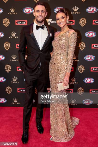 Jack Gunston and Dani Shreeve and Jack Gunston attends 2018 Brownlow Medal at Crown Entertainment Complex on September 24 2018 in Melbourne Australia