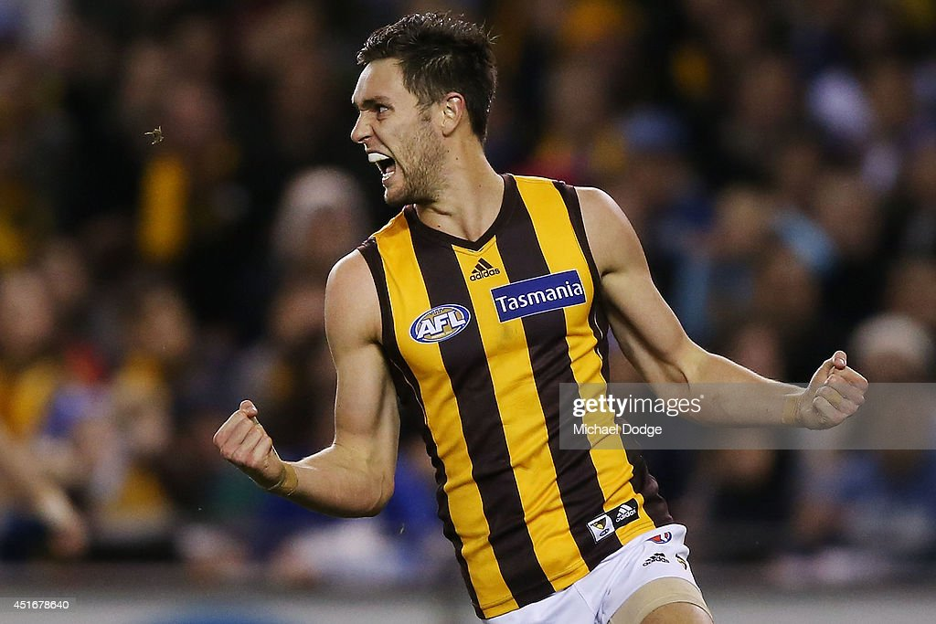 Jack Gunston of the Hawks celebrates a goal during the round 16 AFL match between North Melbourne Kangaroos and the Hawthorn Hawks at Etihad Stadium on July 4, 2014 in Melbourne, Australia.