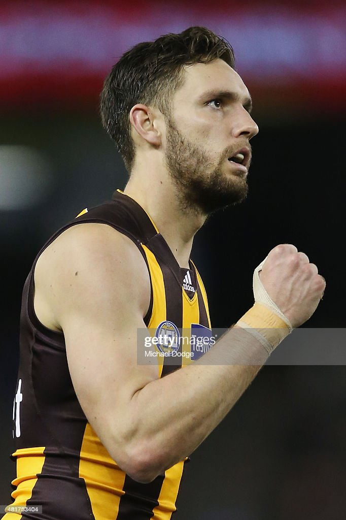 Jack Gunston of the Hawks celebrates a goal during the round 17 AFL match between the Carlton Blues and the Hawthorn Hawks at Etihad Stadium on July 24, 2015 in Melbourne, Australia.