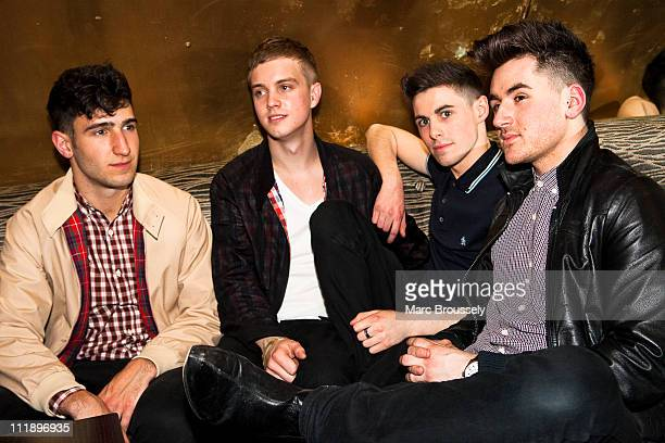 Jack Guppy Dave May Robbie McDade and David Gibbs of The Kixx pose for portraits after performing a showcase for the press at Albannach on April 8...