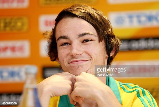 Jack Hale of Australia attends a press conference prior to the start of the IAAF World Youth Championships Cali 2015 on July 14 2015 in Cali Colombia