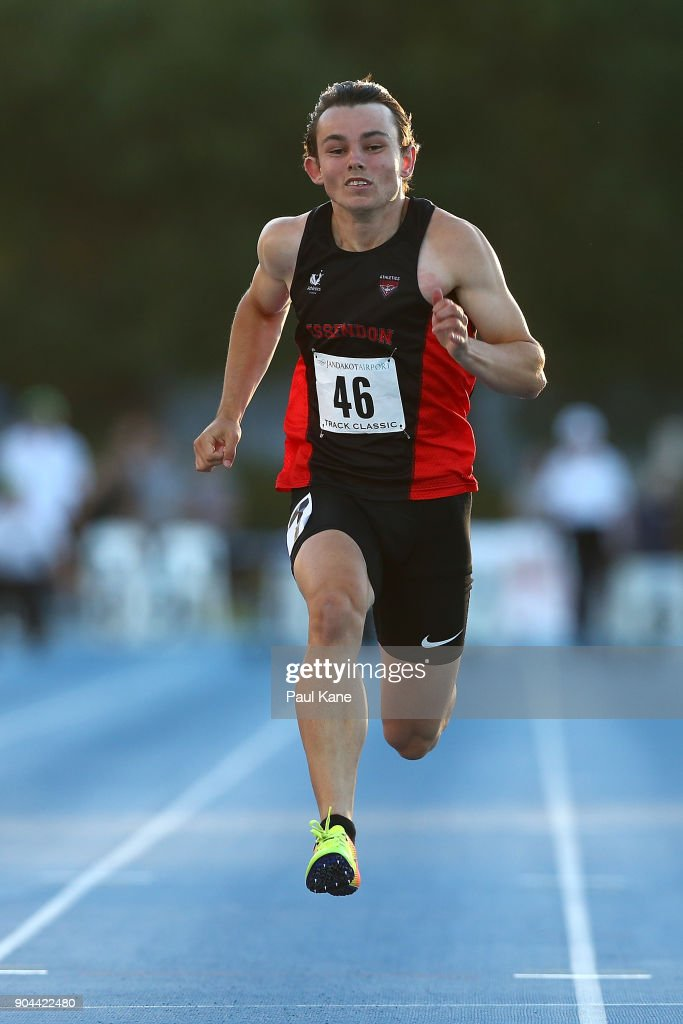Jack Hale of Tasmania competes in the men's 100 metre during the Jandakot Airport Perth Track Classic at WA Athletics Stadium on January 13, 2018 in Perth, Australia.