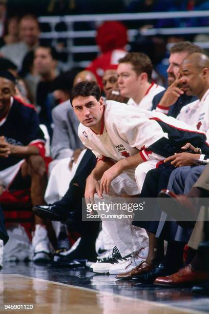 Jack Haley of the Chicago Bulls looks on during the game against the Indiana Pacers on April 20 1996 at the United Center in Chicago Illiniois NOTE...