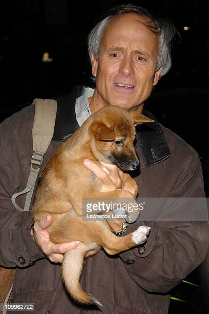 Jack Hanna and dingo puppy during Teri Polo Appears Outside Late Show with David Letterman at Ed Sullivan Theater in New York, New York, United...