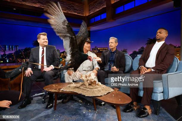 Jack Hanna Jeff Goldblum and Marlon Wayons chat with James Corden during 'The Late Late Show with James Corden' Monday March 5 2018 On The CBS...