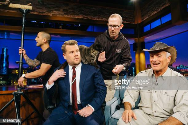 """Jack Hanna, John Goodman, and Adam Pally chat with James Corden during """"The Late Late Show with James Corden,"""" Thursday, March 9, 2017 On The CBS..."""