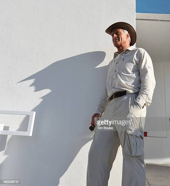 Jack Hanna poses for a photograph while waiting for Nik Wallenda to walk across a tightrope 200 feet above U.S. 41 on January 29, 2013 in Sarasota,...