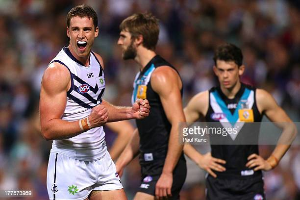 Jack Hannath of the Dockers celebrates a goal during the round 22 AFL match between the Fremantle Dockers and Port Adelaide Power at Patersons...