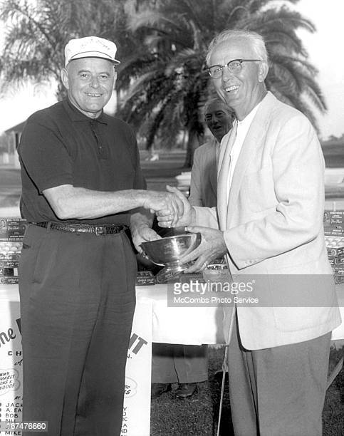 Jack Harkins awarding Charlie Lormes an award during the Quarter Century Club Championship