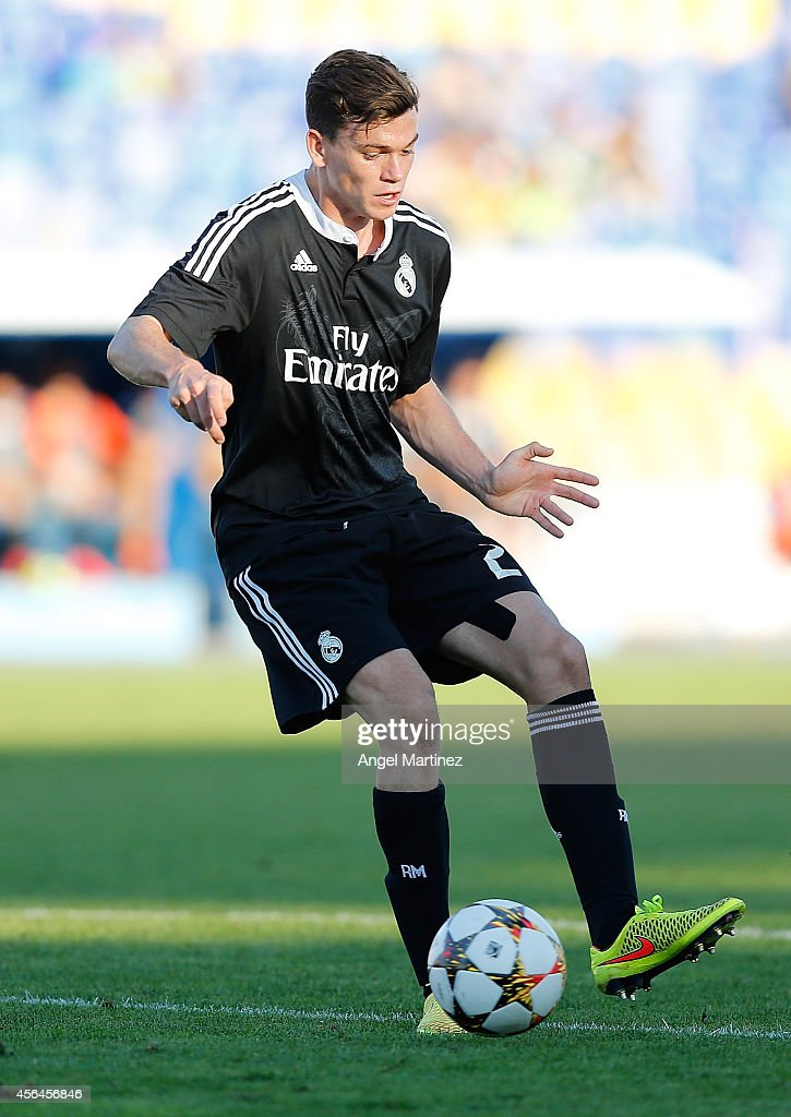Jack Harper of Real Madrid Academy in action during the UEFA Youth Champions League match between PFC Ludogorets Razgrad and Real Madrid at Georgi Asparuhov Stadion on October 1, 2014 in Sofia, Bulgaria.