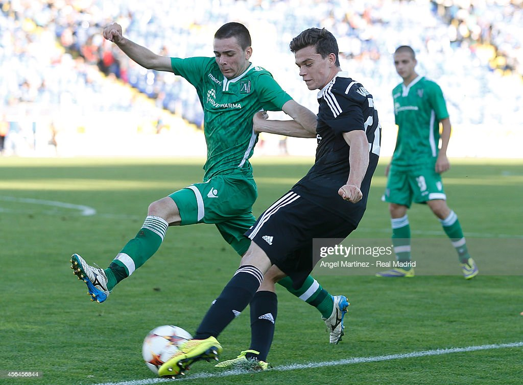 Jack Harper of Real Madrid Academy shoots on goal past Kristiyan Mihaylov of Ludogorets during the UEFA Youth Champions League match between PFC Ludogorets Razgrad and Real Madrid at Georgi Asparuhov Stadion on October 1, 2014 in Sofia, Bulgaria.
