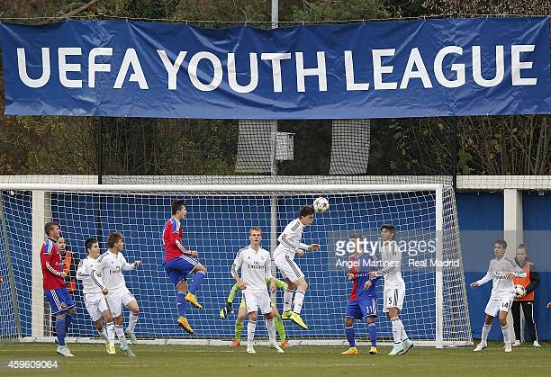 Jack Harper of Real Madrid heads the ball during the UEFA Youth League match between FC Basel 1893 and Real Madrid at Campus FC Basel on November 26...